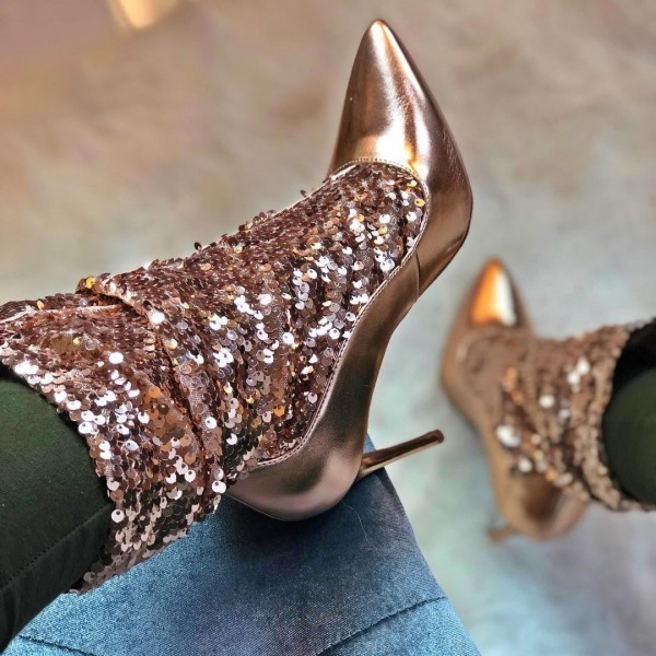 Gold Sequin Boots Stiletto Heel Ankle