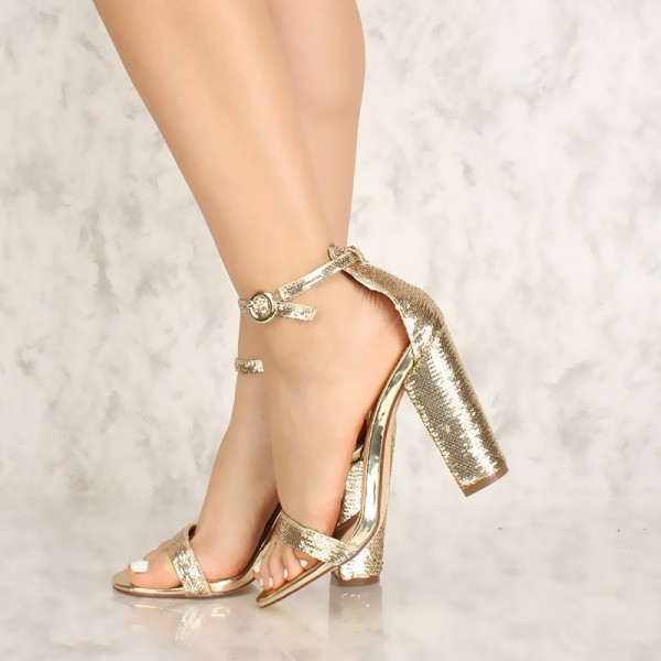 9b8f32453cc3 gold sequined open toe chunky heels sandals prom shoes for work Pinterest  Shoes gold sequined open