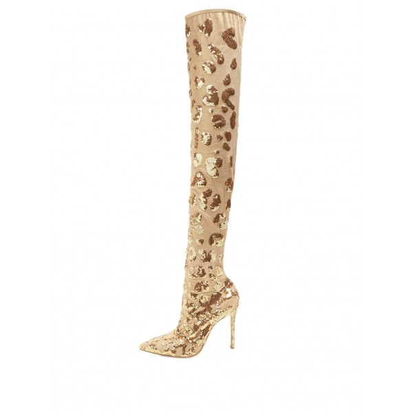 73bca5f12e69 Gold Sequin Boots Pointy Toe Stiletto Heel Evening Over-the-Knee Boots  image 1 ...