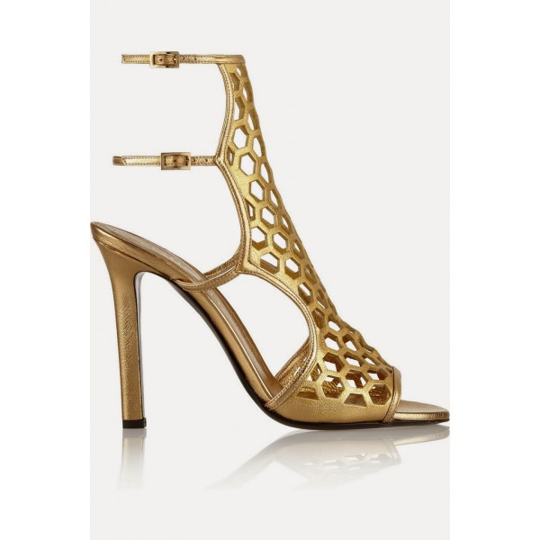 Gold Heels Hollow out Sandals Open Toe Stiletto Heels Slingback Shoes image 4