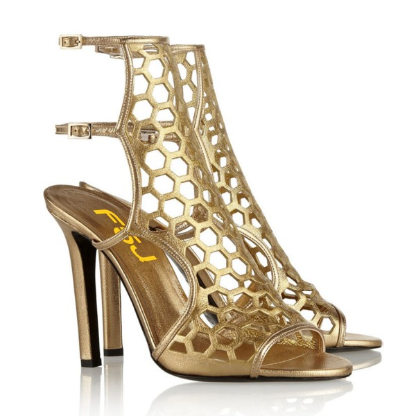 Gold Heels Hollow out Cage Gladiator Sandals Open Toe Slingback ...