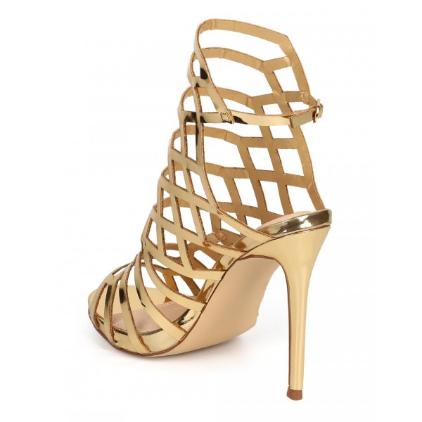 Women's Gold Slingback Heels Hollow out Stiletto Heels Caged Sandals image 2