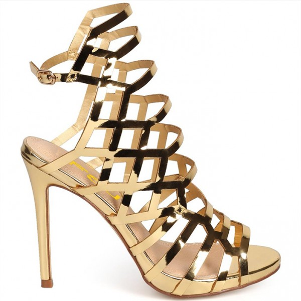 Women's Gold Slingback Heels Hollow out Stiletto Heels Caged Sandals image 5