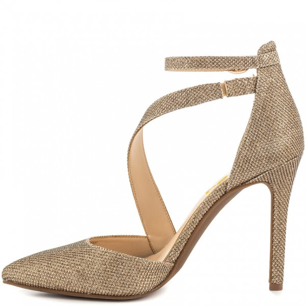 Women's Gold Sparkly Heels Ankle Strap Pointed Toe Heel Pumps image 6