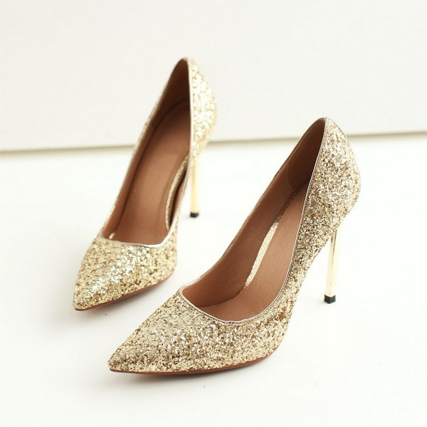 Gold Metallic Pointy Toe Stiletto Heels Pumps image 1