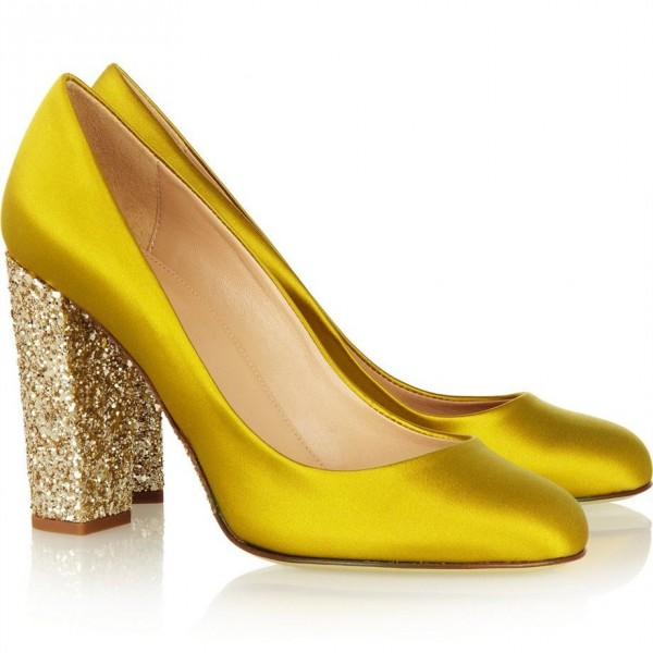 Gold Sparkly Heels Glitter Satin Chunky Heel Pumps for Ladies image 2