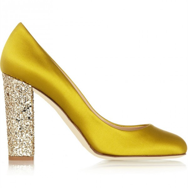 Gold Sparkly Heels Glitter Satin Chunky Heel Pumps for Ladies image 3
