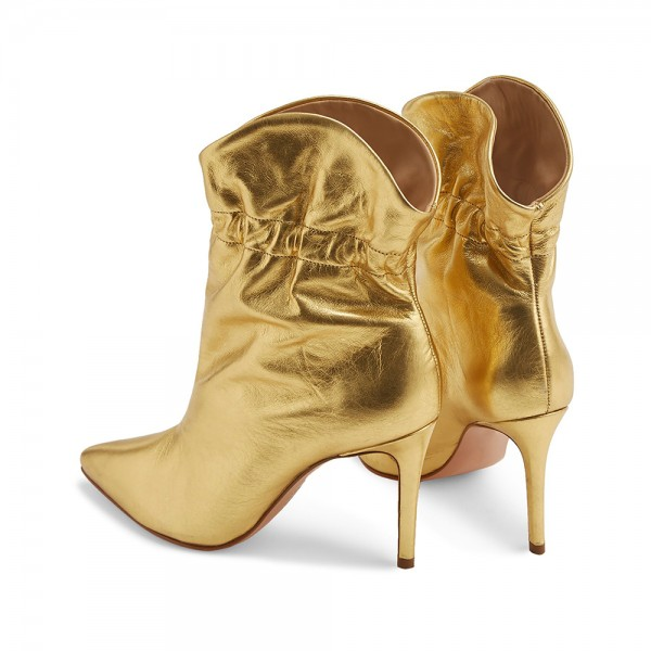 Gold Stiletto Boots Ankle Boots image 3