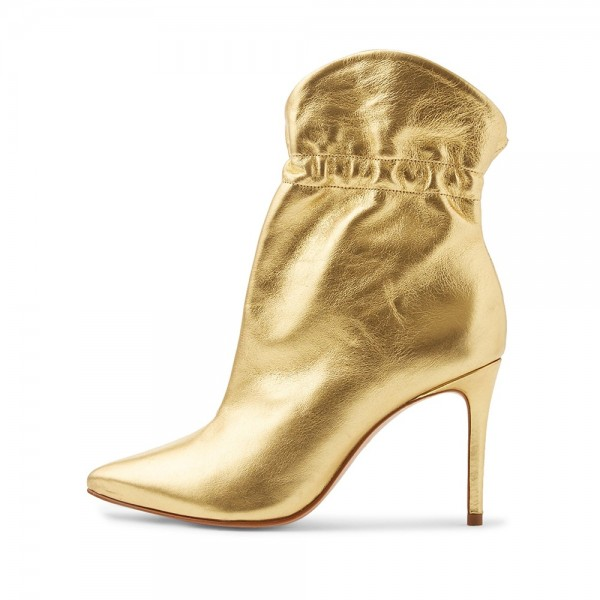 Gold Stiletto Boots Ankle Boots image 2