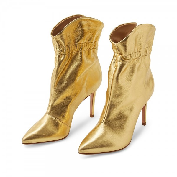 Gold Stiletto Boots Ankle Boots image 1