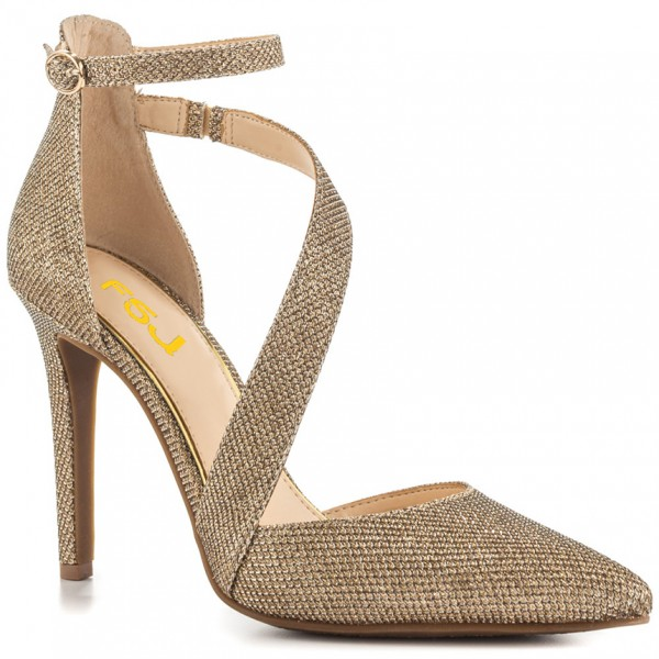 Women's Gold Sparkly Heels Ankle Strap Pointed Toe Heel Pumps image 7