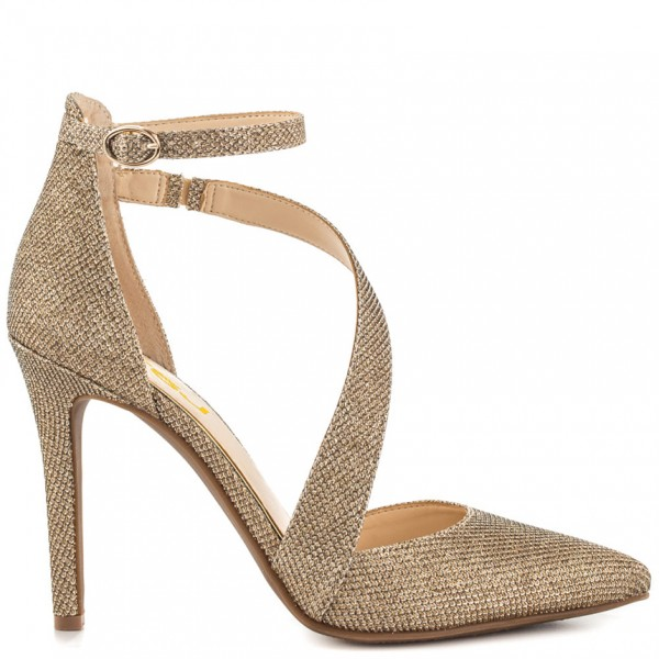 Women's Gold Sparkly Heels Ankle Strap Pointed Toe Heel Pumps image 8