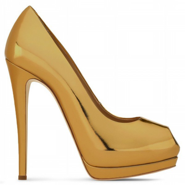 Gold Metallic Heels Peep Toe Platform Pumps High Heel Shoes for Party image 4