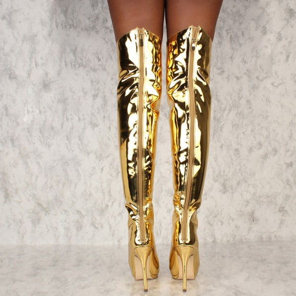 Gold Stiletto Heel Thigh High Lace Up Boots image 4