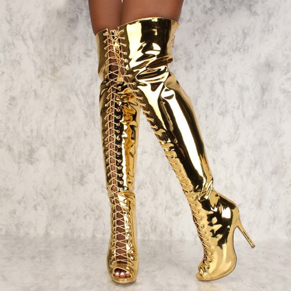 Gold Stiletto Heel Thigh High Lace Up Boots image 2