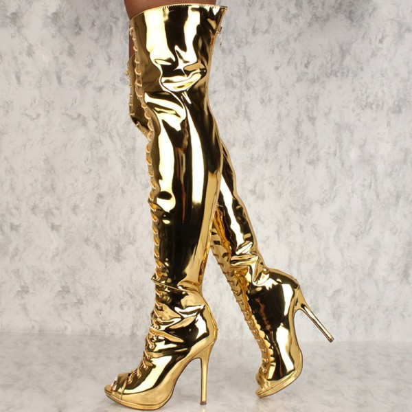 Gold Stiletto Heel Thigh High Lace Up Boots image 3
