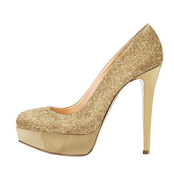 4ed3fee5fc9 Gold Stiletto Heels Glitter Shoes Sparkly Platform Pumps