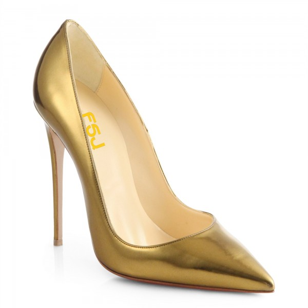 Gold Metallic Heels Pointy Toe Stiletto Heel Pumps For