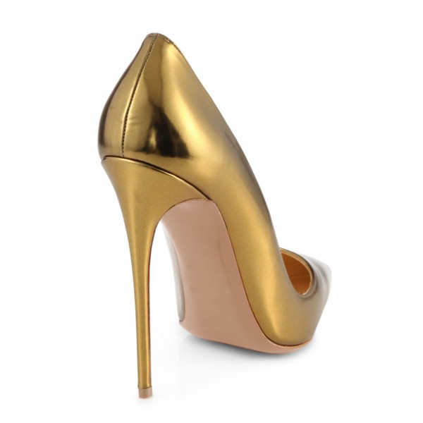 Gold Metallic Heels Pointy Toe Stiletto Heel Pumps for Office Lady image 4