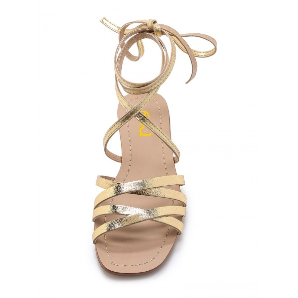 Golden Gladiator Sandals Open Toe Comfortable Flats Strappy Shoes image 4