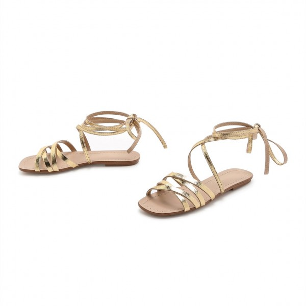 Golden Gladiator Sandals Open Toe Comfortable Flats Strappy Shoes image 1