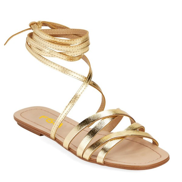 Golden Gladiator Sandals Open Toe Comfortable Flats Strappy Shoes image 6