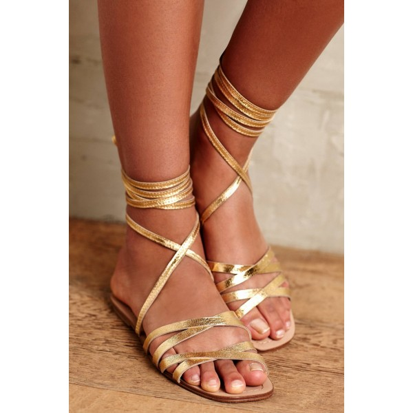 Golden Gladiator Sandals Open Toe Comfortable Flats Strappy Shoes image 3