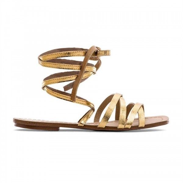 Golden Gladiator Sandals Open Toe Comfortable Flats Strappy Shoes image 2