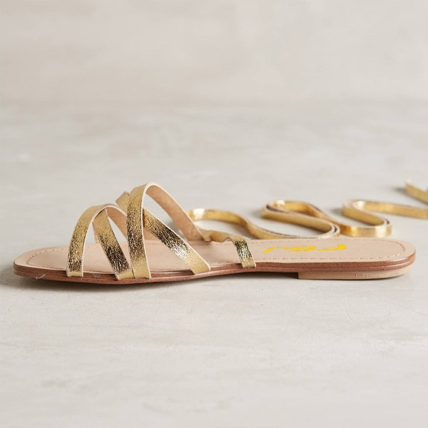 Golden Gladiator Sandals Open Toe Comfortable Flats Strappy Shoes image 7
