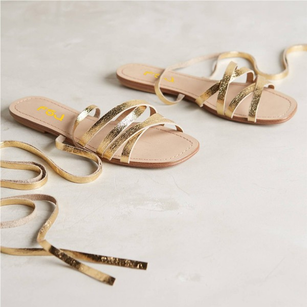 Golden Gladiator Sandals Open Toe Comfortable Flats Strappy Shoes image 8