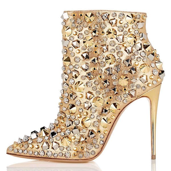 Gold Studs Stiletto Heel Ankle Booties image 2