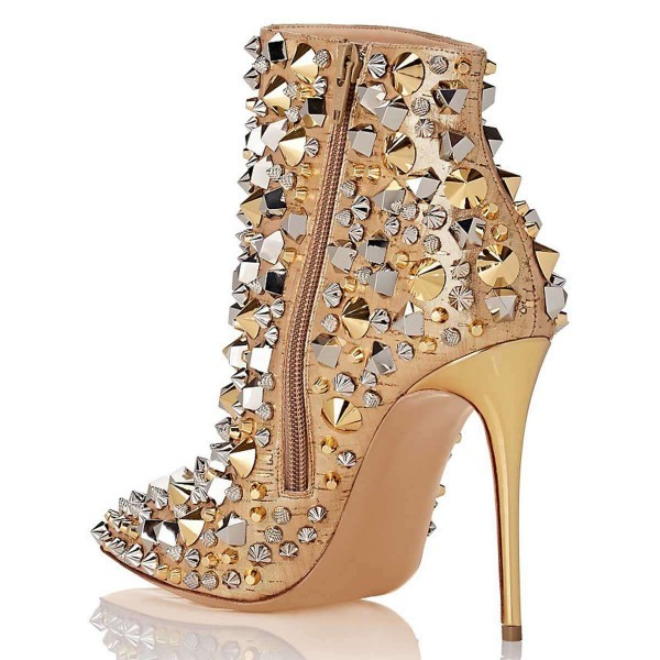 Gold Studs Stiletto Heel Ankle Booties image 3