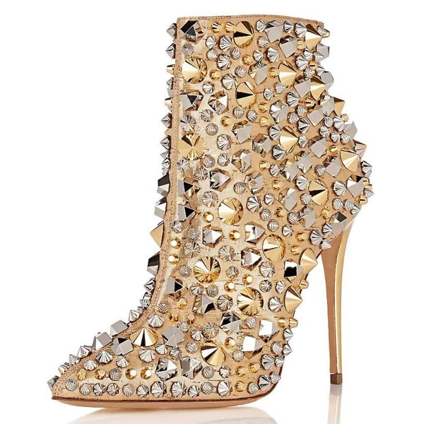 Gold Studs Stiletto Heel Ankle Booties image 1