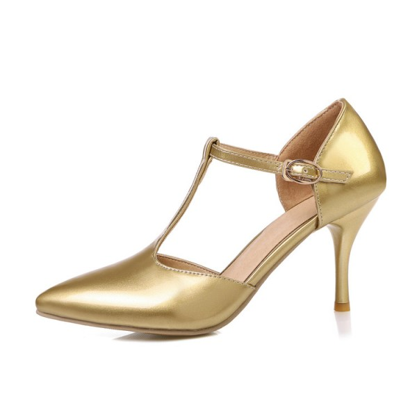 Gold T Strap Pumps Closed Toe 3 Inch Stiletto Heels Shoes image 3