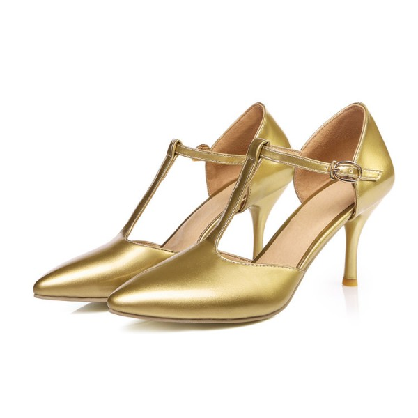 Gold T Strap Pumps Closed Toe 3 Inch Stiletto Heels Shoes image 6