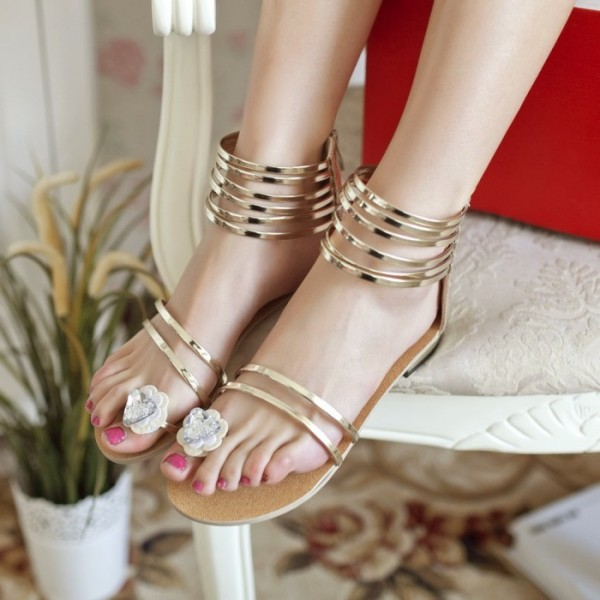 Gold Wedding Sandals Open Toe Flats Summer Sandals with Flower image 1