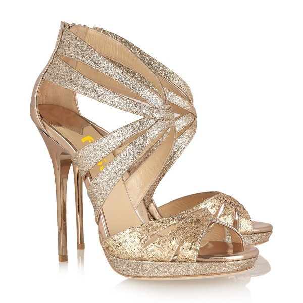 Gold Glitter Shoes Peep Toe Sparkly Stiletto Heel Evening Shoes image 2