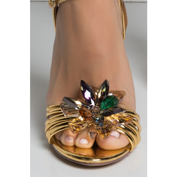Gold Prom Shoes Metallic Rhinestone Embellished Evening Sandals image 3