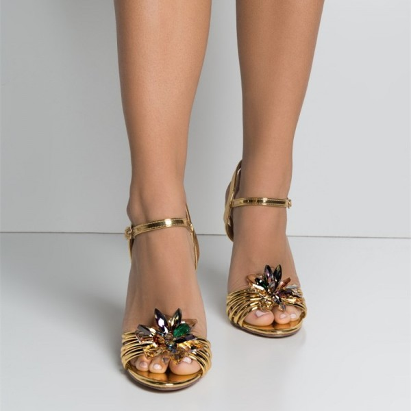 Gold Prom Shoes Metallic Rhinestone Embellished Evening Sandals image 2