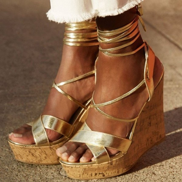 Gold Wedge Heels Open Toe Strappy