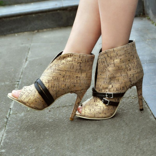 Gold Wood Grain Stiletto Boots Peep Toe Fashion Buckles Ankle Boots image 1