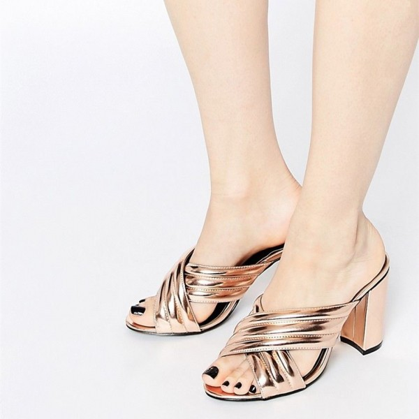 Golden Cross Strap Summer Sandals Peep Toe Chunky Heel Mules image 1