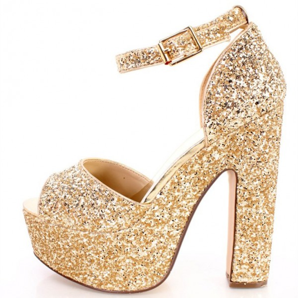 Women's Golden Dazzling Ankle Strap Sandals Buckle Chunky Heel Sandals image 1