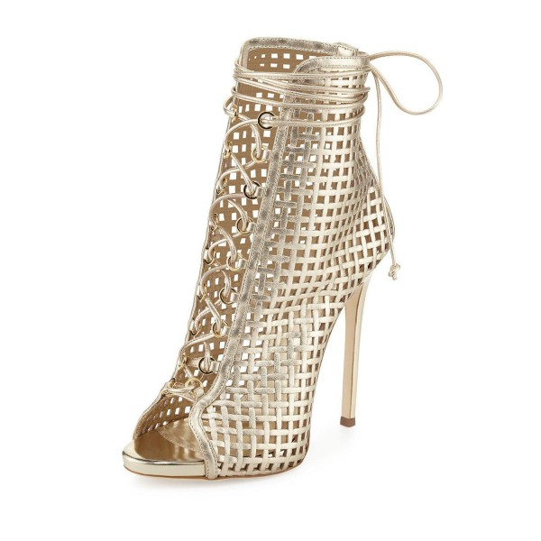 Golden Lace up Heels Peep Toe Cage Sandals Stiletto Heels image 1