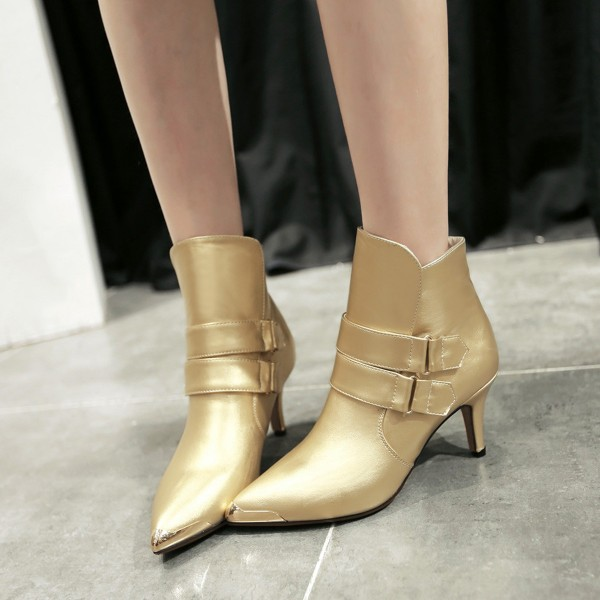 Golden Patent Leather Fashion Boots Pointy Toe Kitten Heel Ankle Boots image 2