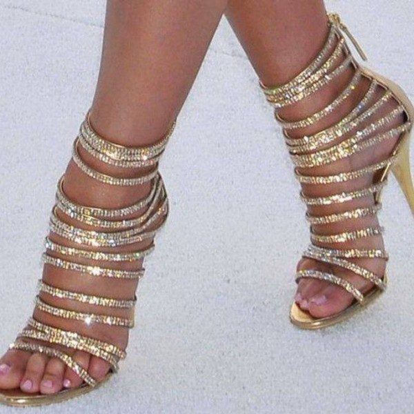 Gold Evening Shoes Rhinestone Stiletto Heel Strappy Sandals for Party image 1