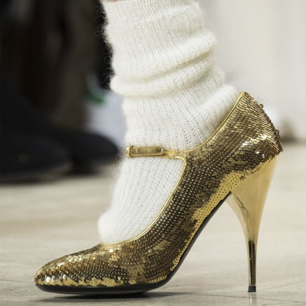 Golden Sequined Mary Jane Shoes Pumps  image 1