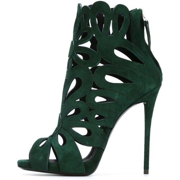 Green Suede Laser Cut Peep Toe Sexy Stiletto Heel Sandals image 1