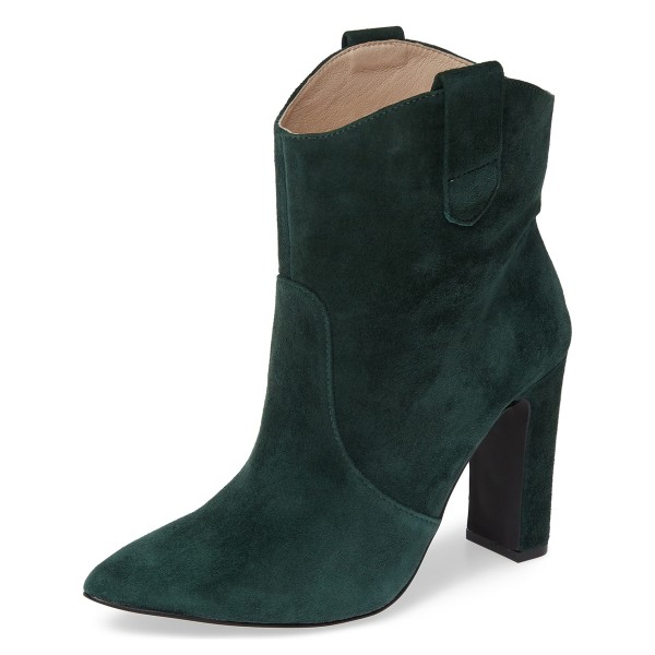 Green Almond Toe Chunky Heel Boots Vintage Ankle Booties image 1