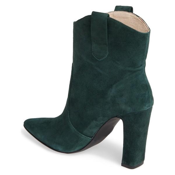 Green Almond Toe Chunky Heel Boots Vintage Ankle Booties image 4